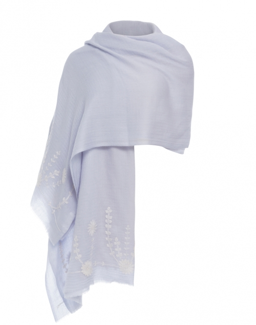 Sky Blue Embroidered Cashmere Wrap
