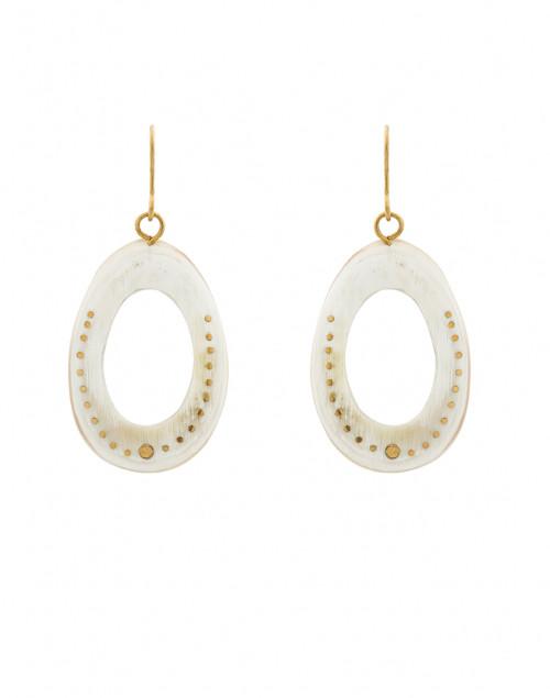 Oval Horn Brass Inlay Earrings