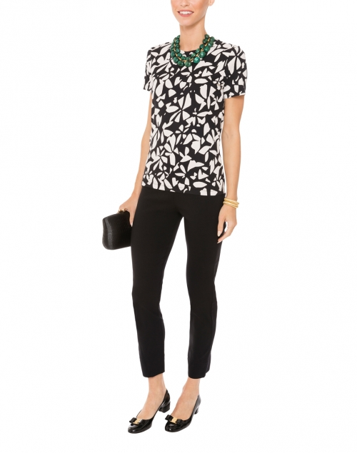 White and Black Floral Print Cotton Top with Short sleeves