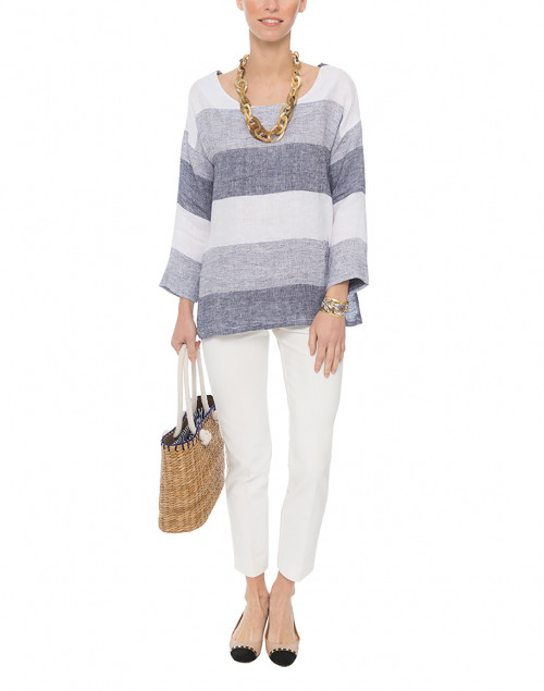 Navy and White Stripe Beach Linen Top