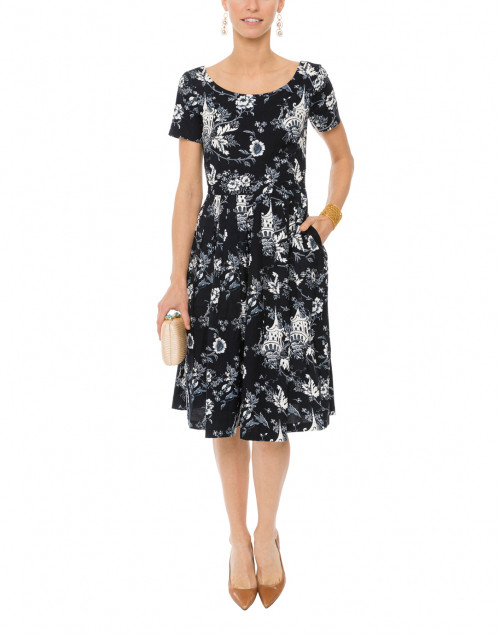 Florence Sunshine Indigo Print Stretch Cotton Dress