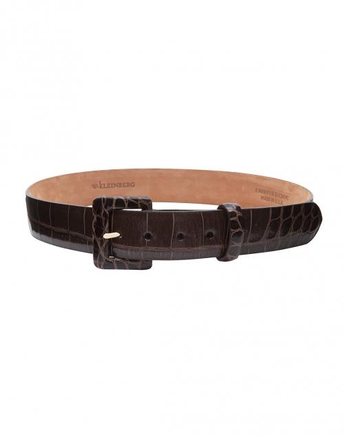 brown embossed crocodile leather belt w kleinberg