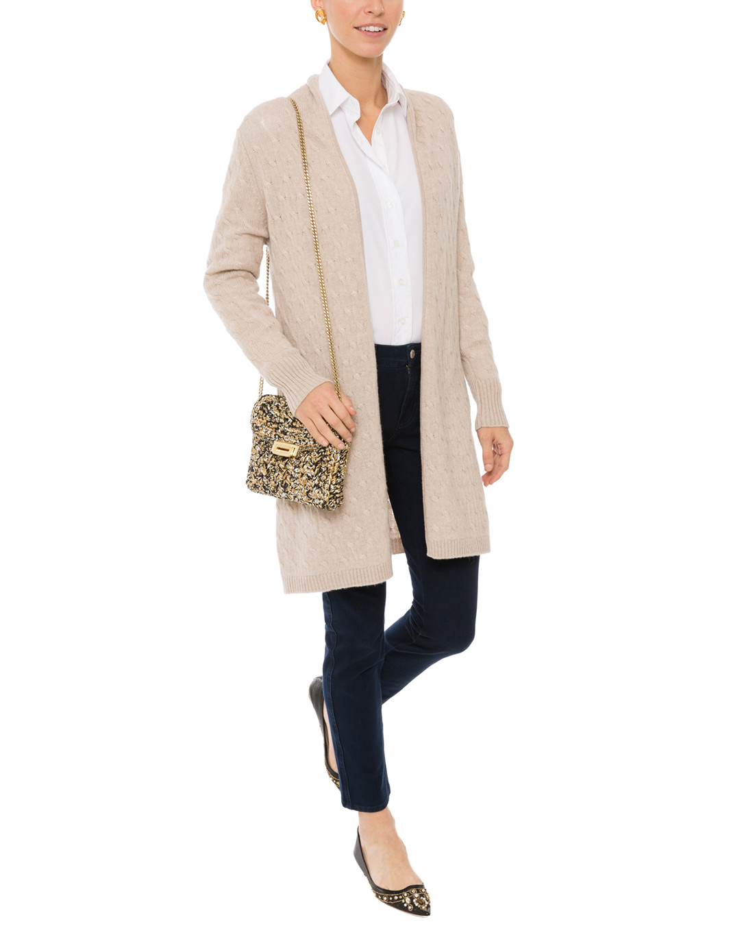 25f7574f875 Sophie Beige Cable Knit Cashmere Cardigan