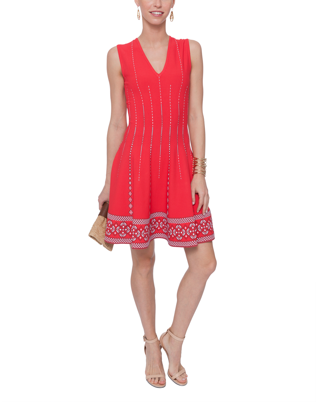Red Line Print Knit Dress D Exterior Halsbrook