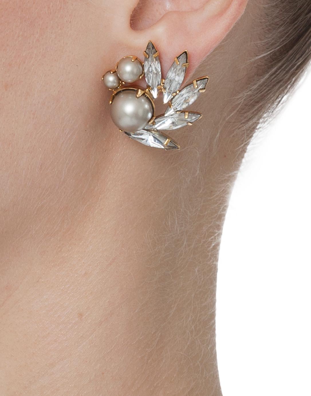 Eyelet Crystal and Pearl Earrings | Elizabeth Cole