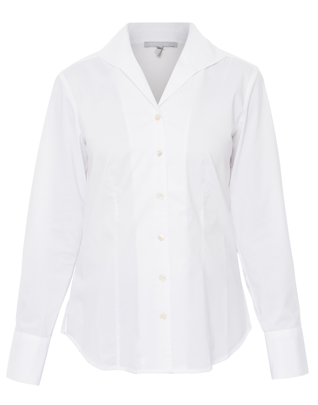 Donna White Button Down Stretch Cotton Shirt Hinson Wu Halsbrook