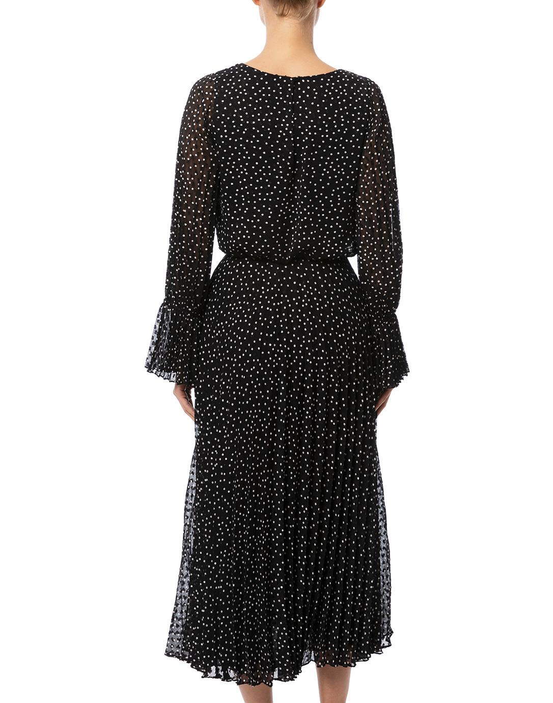7d09f2fb48 Black and White Polka Dot Pleated Maxi Dress