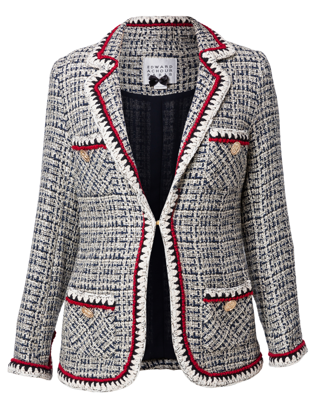 Navy and White Tweed Jacket with Crochet Trim