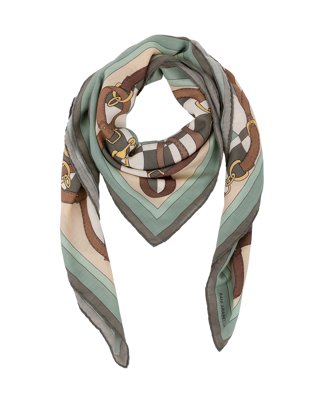 91d54732f Green and Brown Saddle Printed Silk Cashmere Scarf | Rani Arabella ...