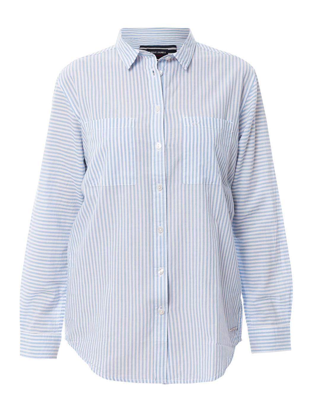 2dfdf89cc6d Laetitia White and Blue Striped Button Down Shirt
