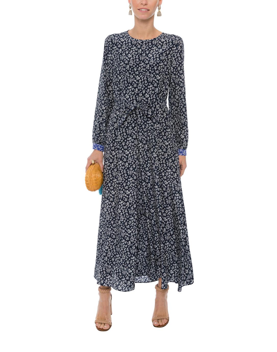5645dc5e57d039 Tasso Navy Floral Printed Silk Maxi Dress