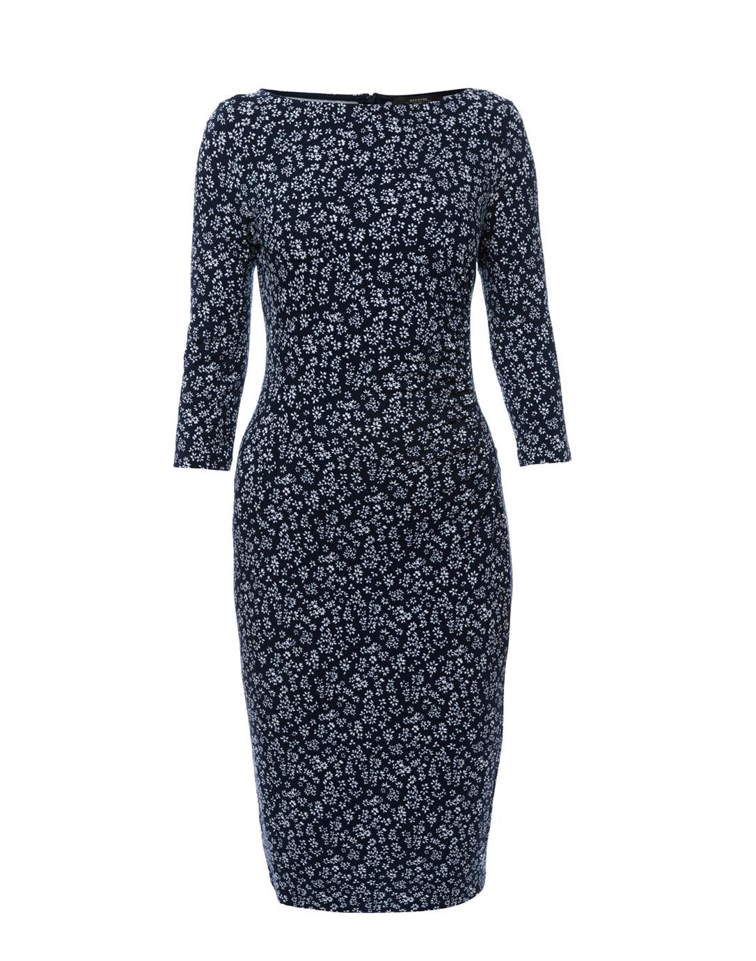 e0e4d38bf42 Kriss Navy Blue Floral Jersey Dress