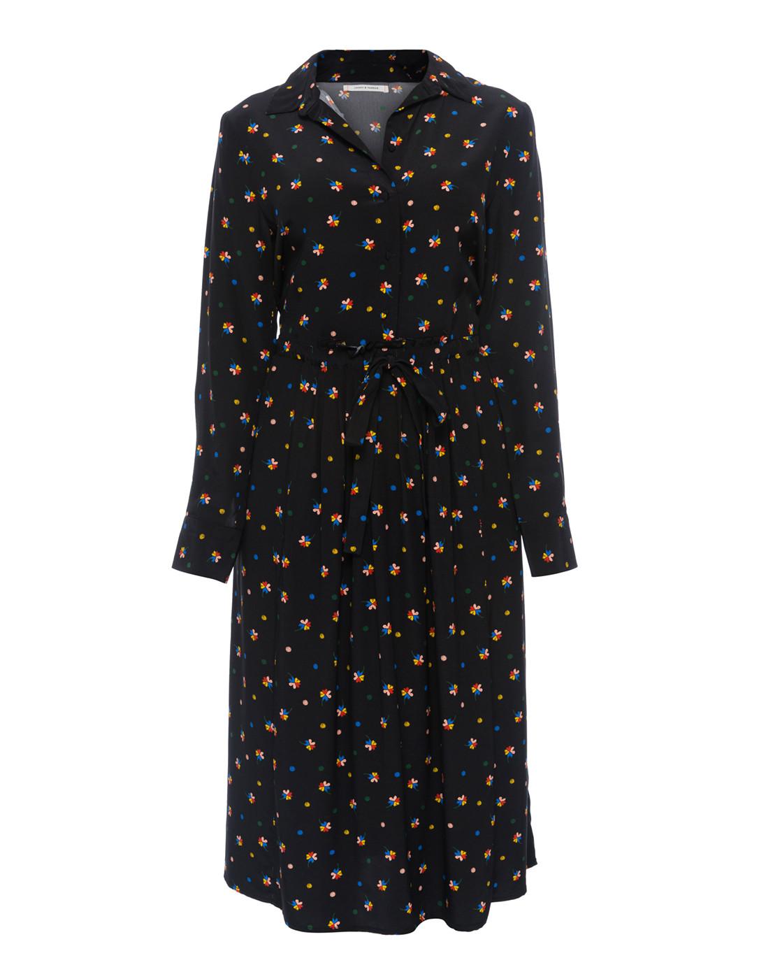 67f2f1115b4 Lucky Clover Black Silk Shirt Dress