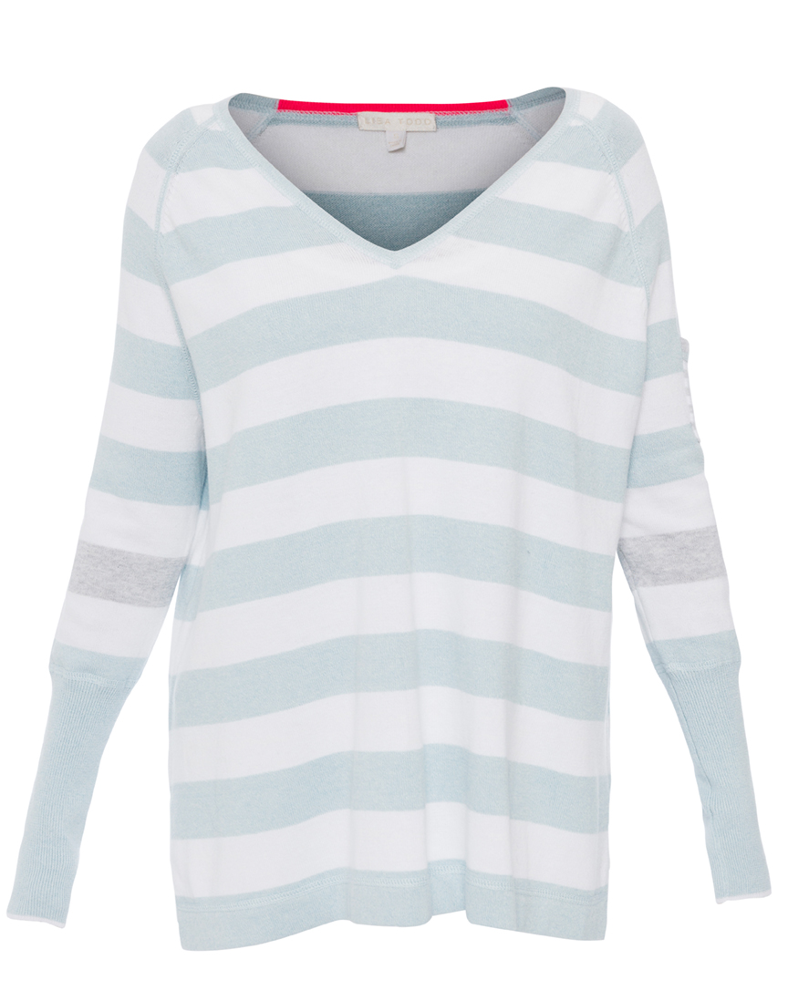 Blue and White Stripe Cotton Sweater | Lisa Todd | Halsbrook