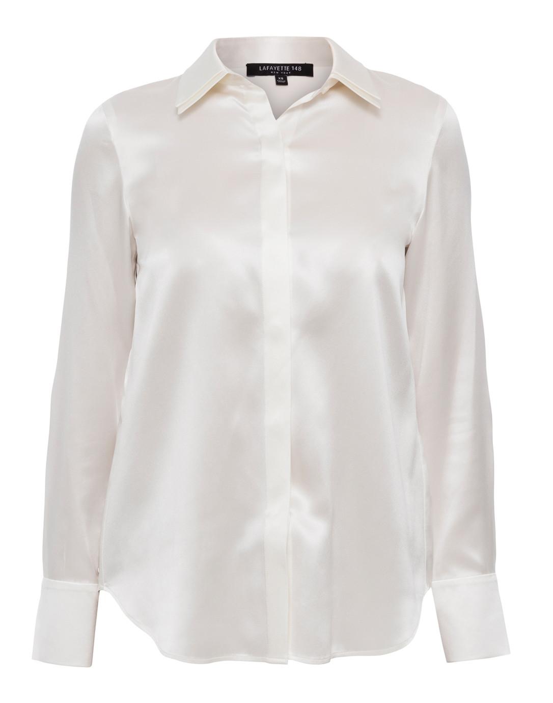 3521704db5ad Semira White Button Down Silk Blouse | Lafayette 148 New York ...
