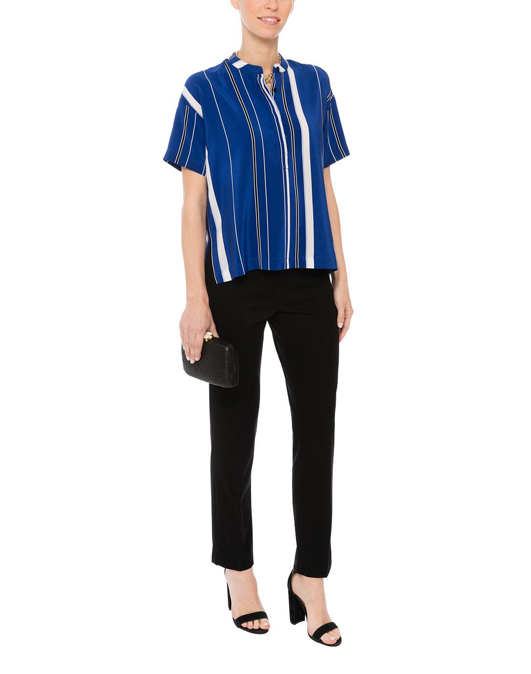 93b4ab423a6d5 Maggi Ultramarine Striped Silk Blouse