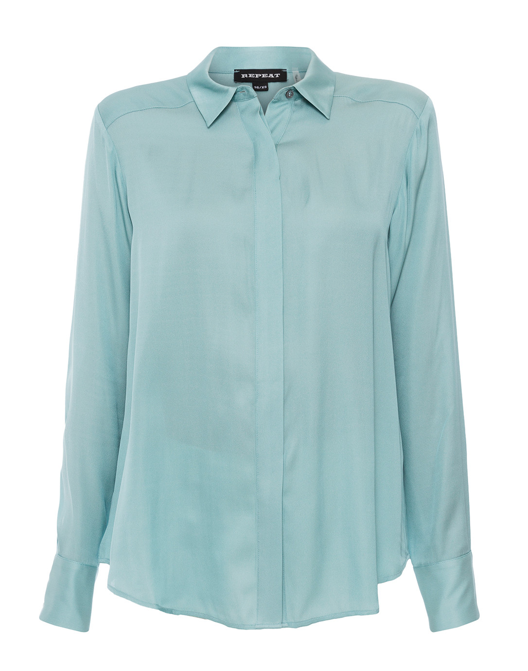 055bc5cf37c198 Ice Green Stretch Silk Button Down Shirt | Repeat Cashmere | Halsbrook
