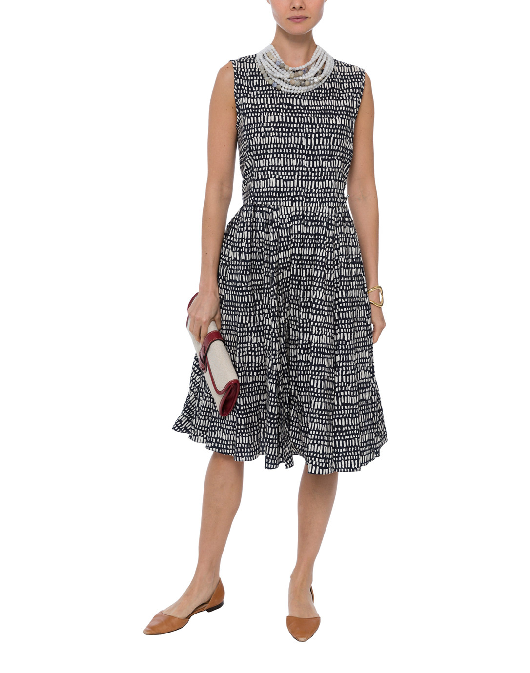 7cd9a6eef90f Spiga Navy and White Square Printed Stretch Cotton Dress