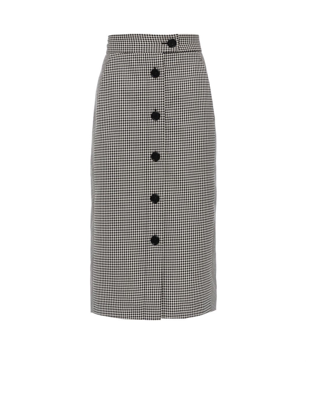 6b0785685f52 White and Black Plaid Checked Midi Skirt   Tara Jarmon   Halsbrook