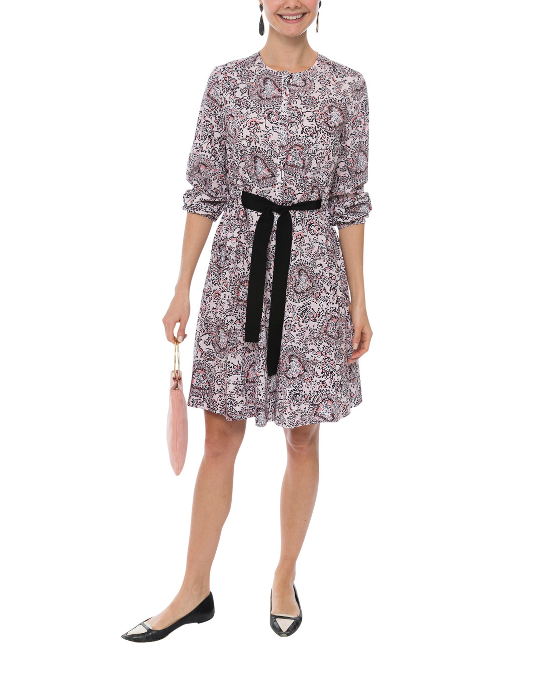 169214e4795 Pink and Black Floral Print Dress