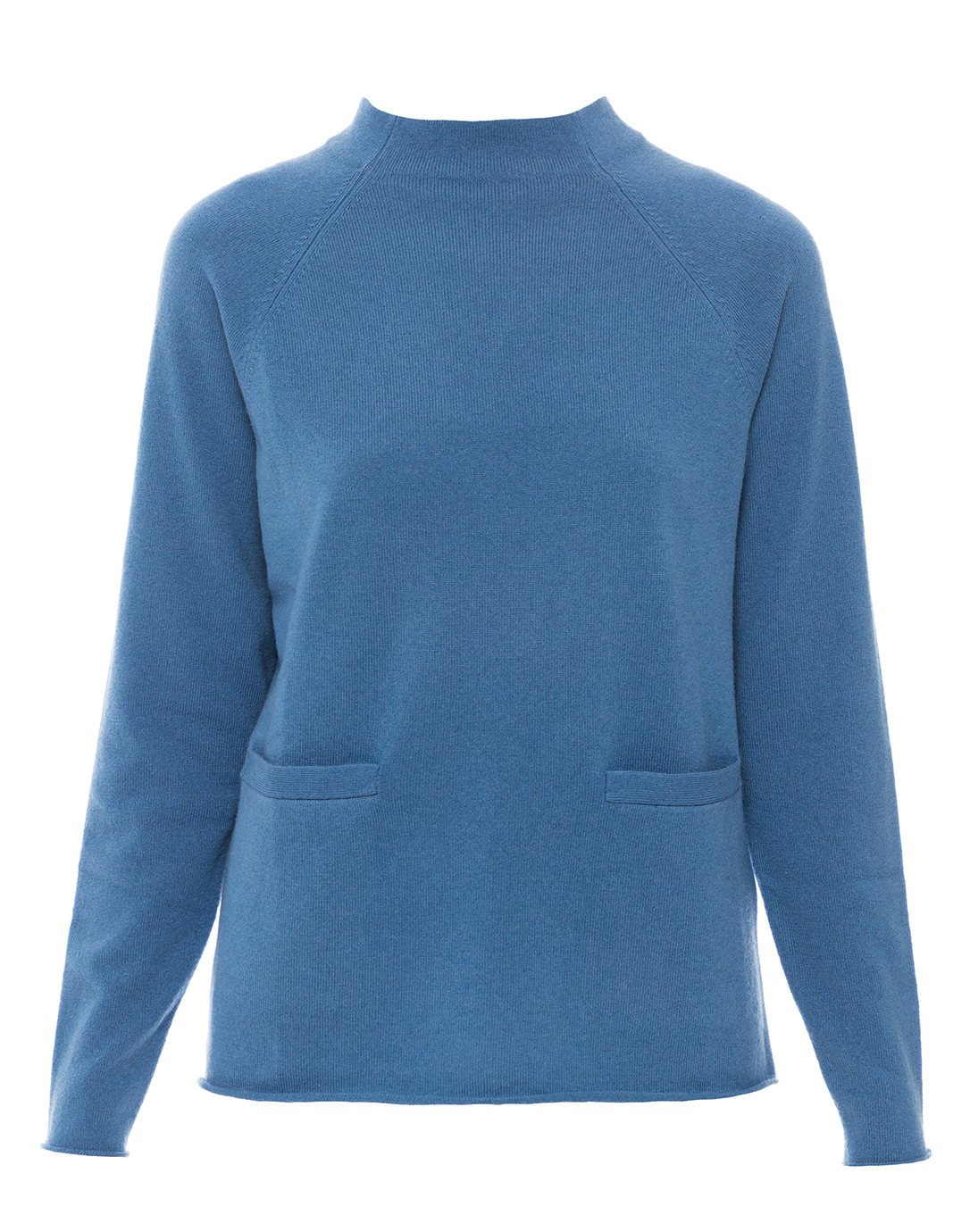 Sea Blue Pullover Sweater with Front Pockets   Allude   Halsbrook