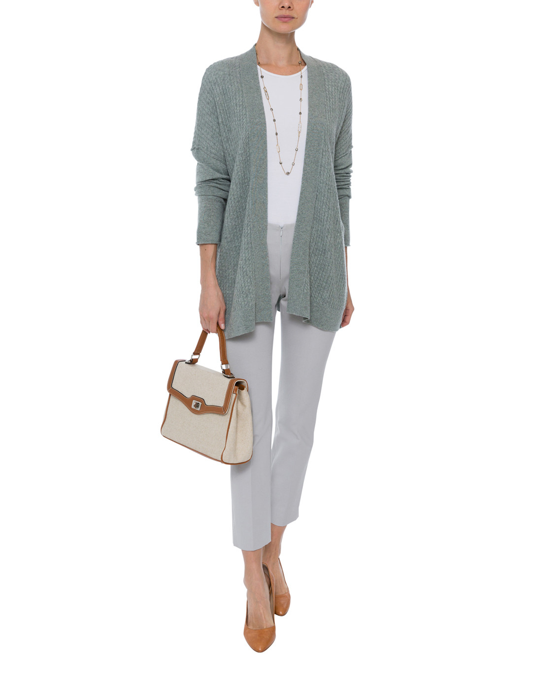 041f5e943cc Sage Green Micro Cable Knit Cashmere Cardigan