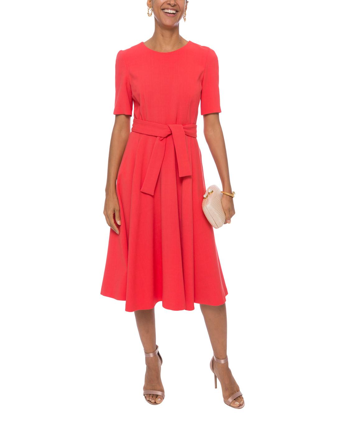 en présentant la moitié San Francisco Coral Stretch Crepe Dress
