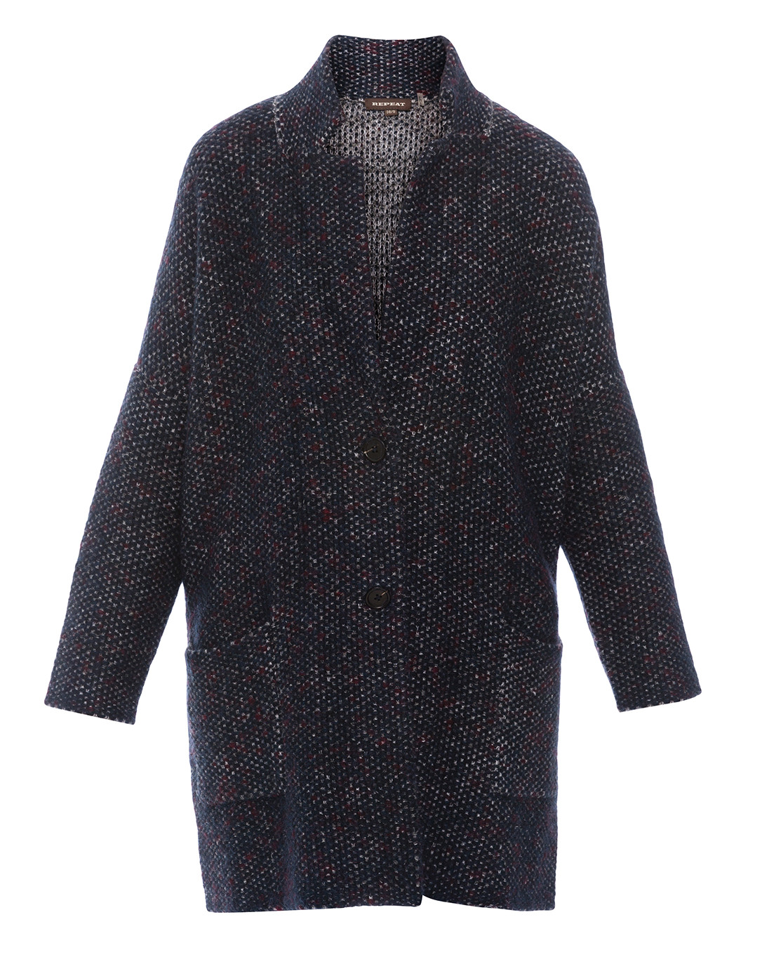 Blue and Burgundy Tweed Sweater Coat | Repeat Cashmere | Halsbrook