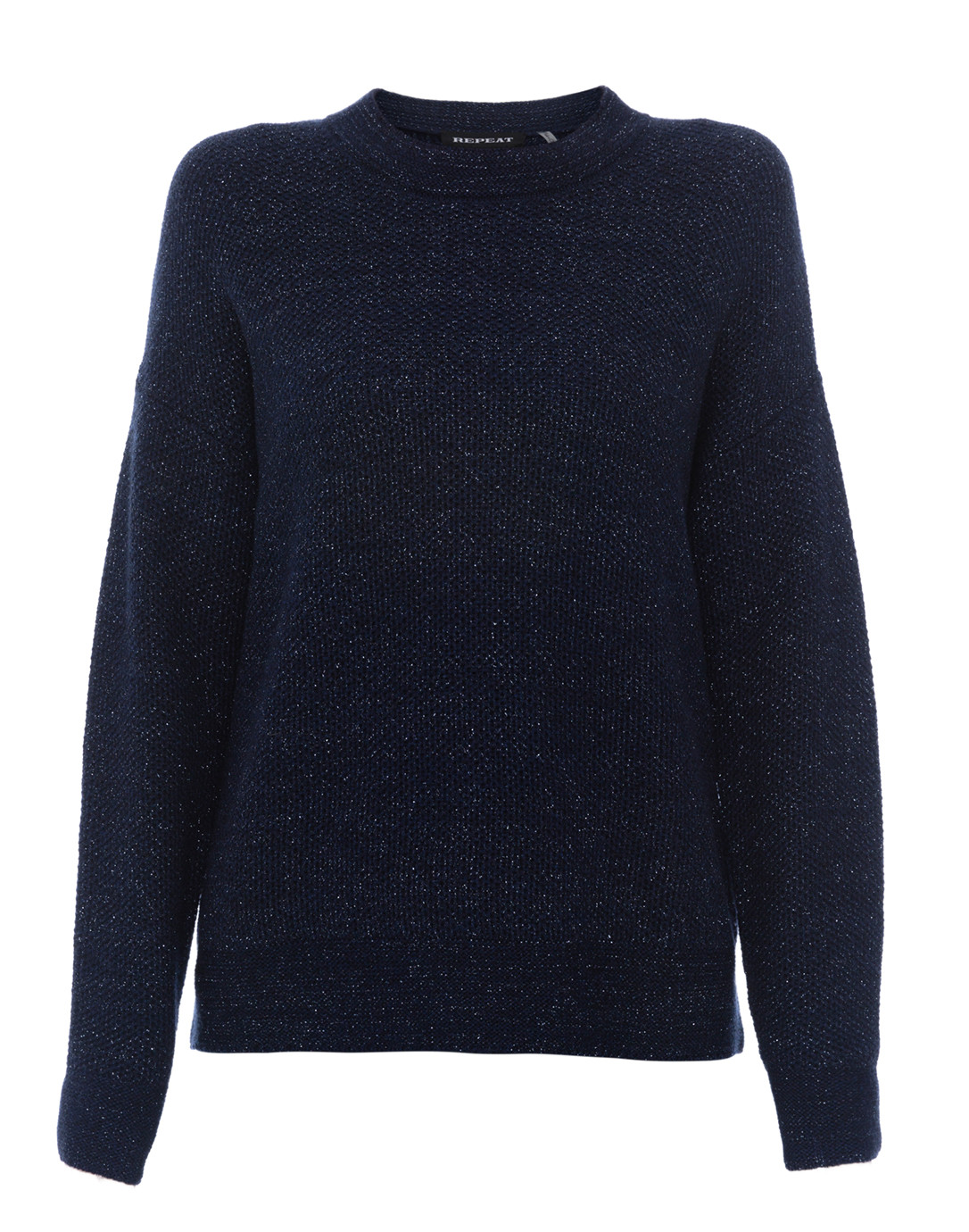 Ink Navy Metallic Shimmer Sweater Repeat Cashmere Halsbrook