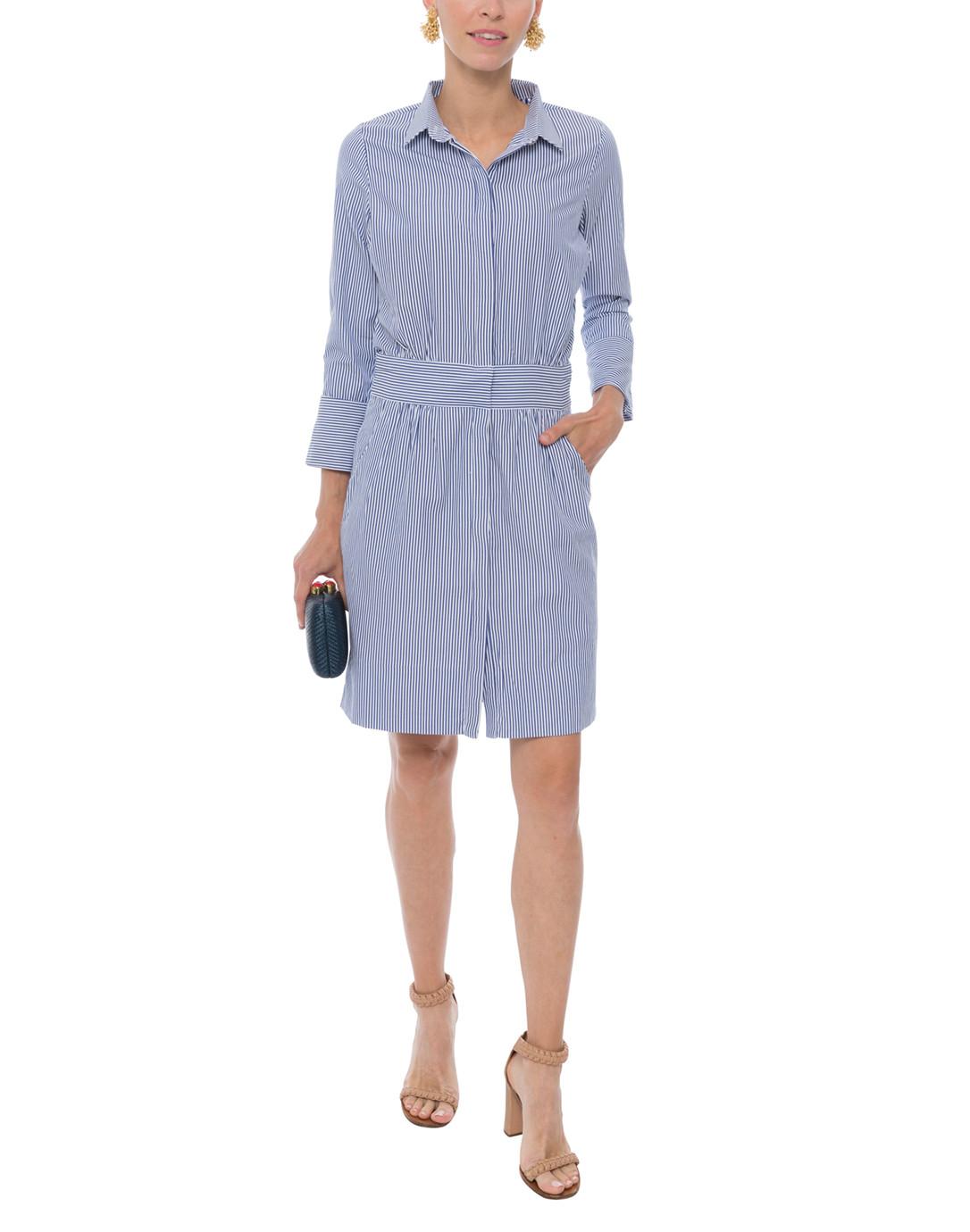1ade9d6eb4 Breezy Blouson Navy and White Striped Shirt Dress