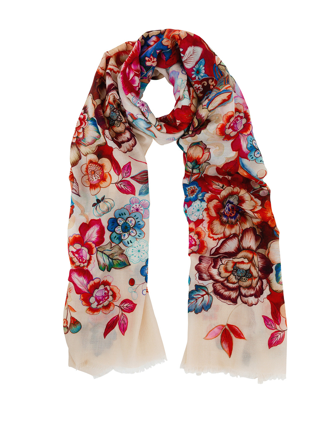 check-out 6f949 36e27 Risiko II Ivory Floral Cashmere, Silk, Wool Scarf