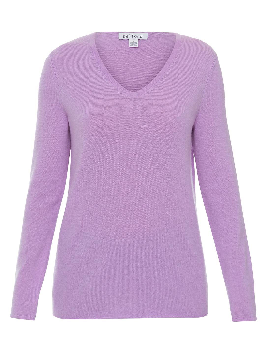 Lavender V-Neck Cashmere Sweater | Belford | Halsbrook