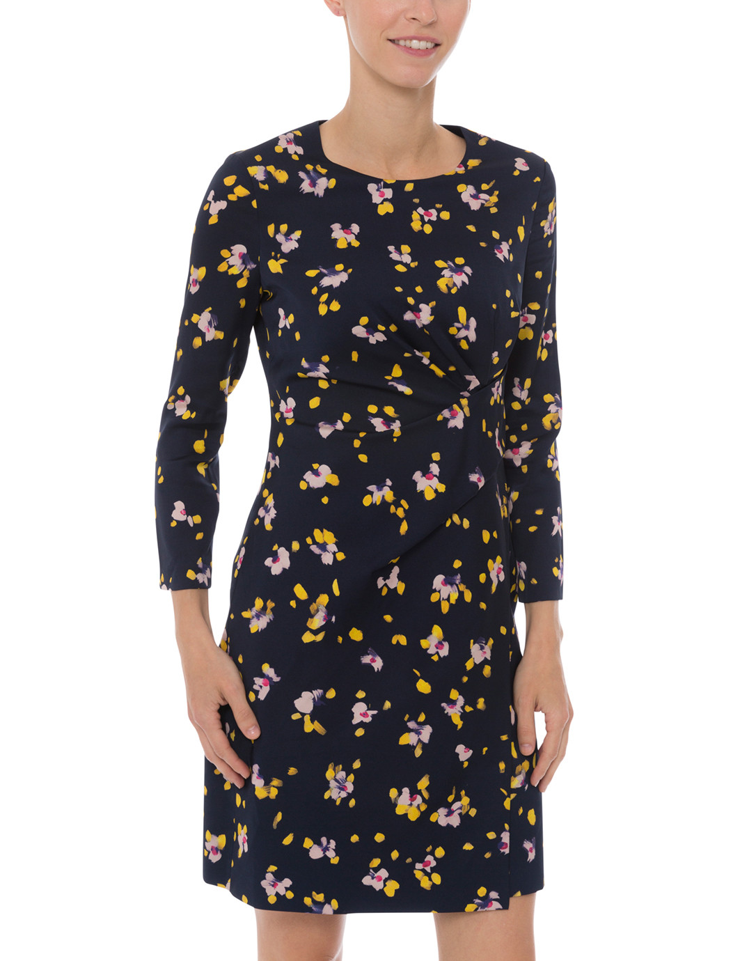 9706c079bcce Navy and Yellow Floral Print Silk Dress. $428 $128 FINAL SALE: CANNOT BE  RETURNED