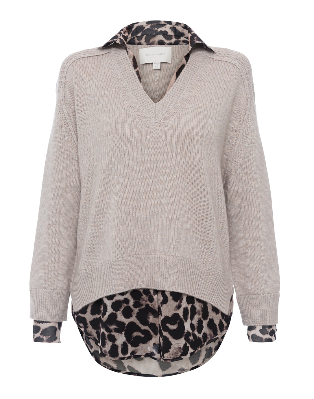 08823edee37 Details  Size and Fit. This beige sweater is an animal printed update to Brochu  Walker s signature layered looker.