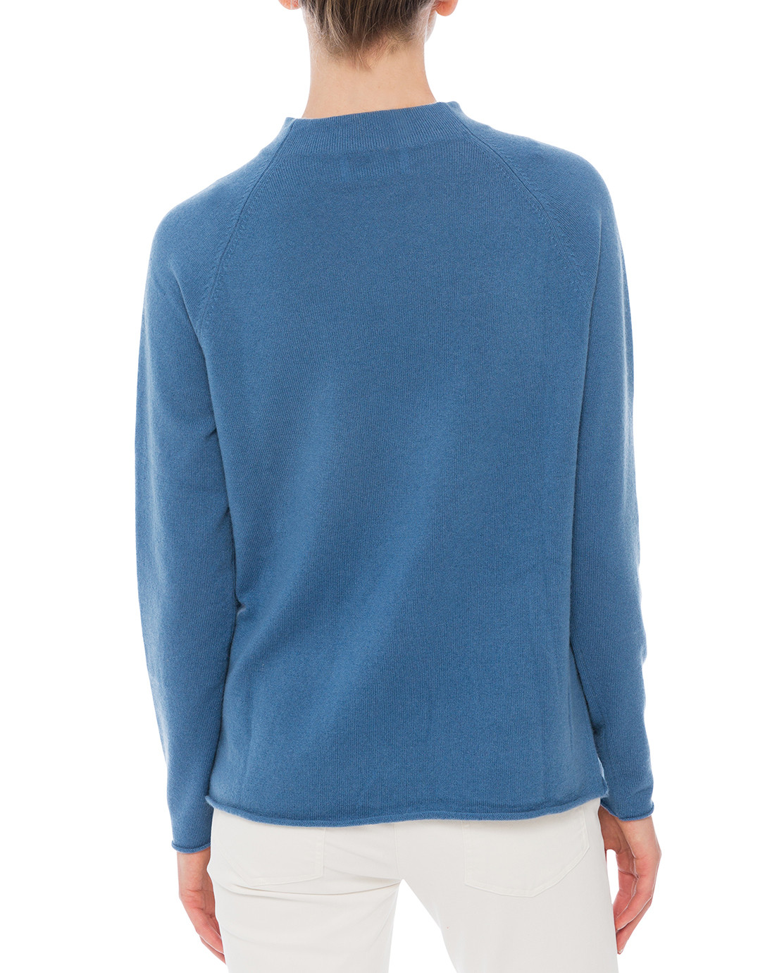 Sea Blue Pullover Sweater with Front Pockets | Allude | Halsbrook