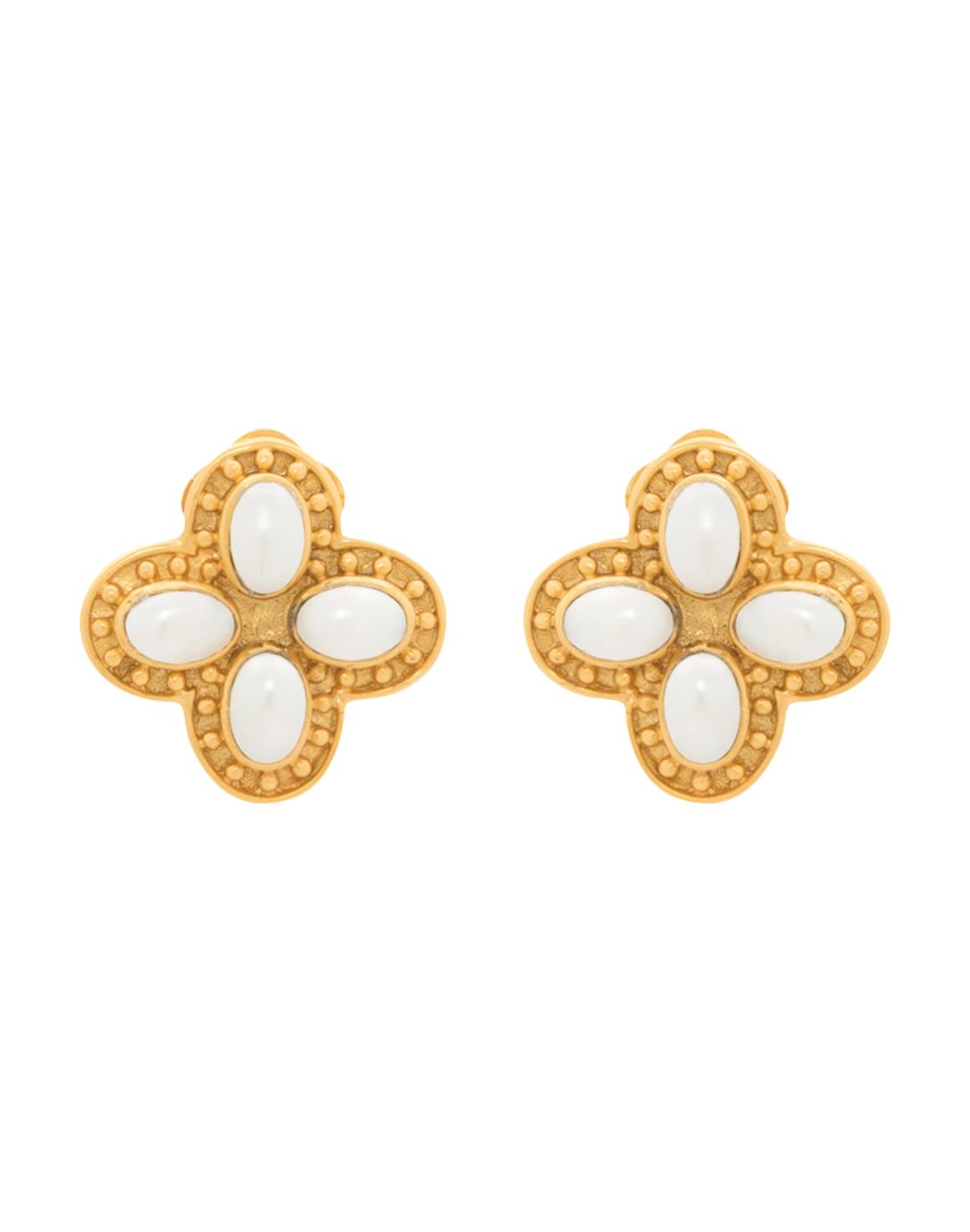siena flower pearl gold clip on earrings julie vos