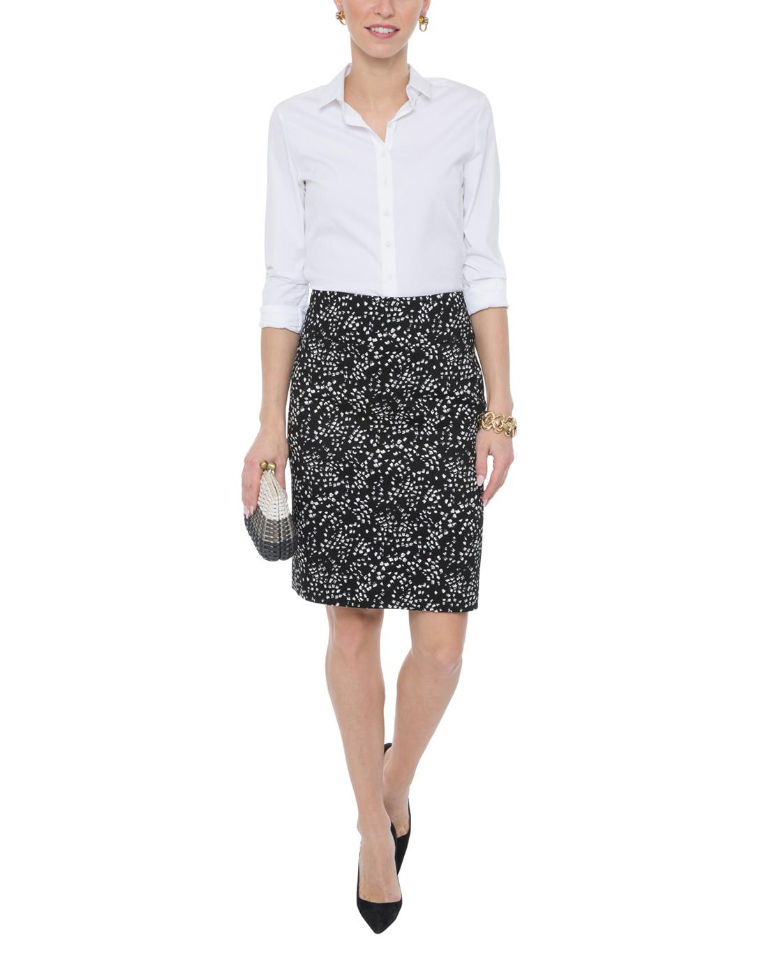 black and white confetti print stretch pencil skirt