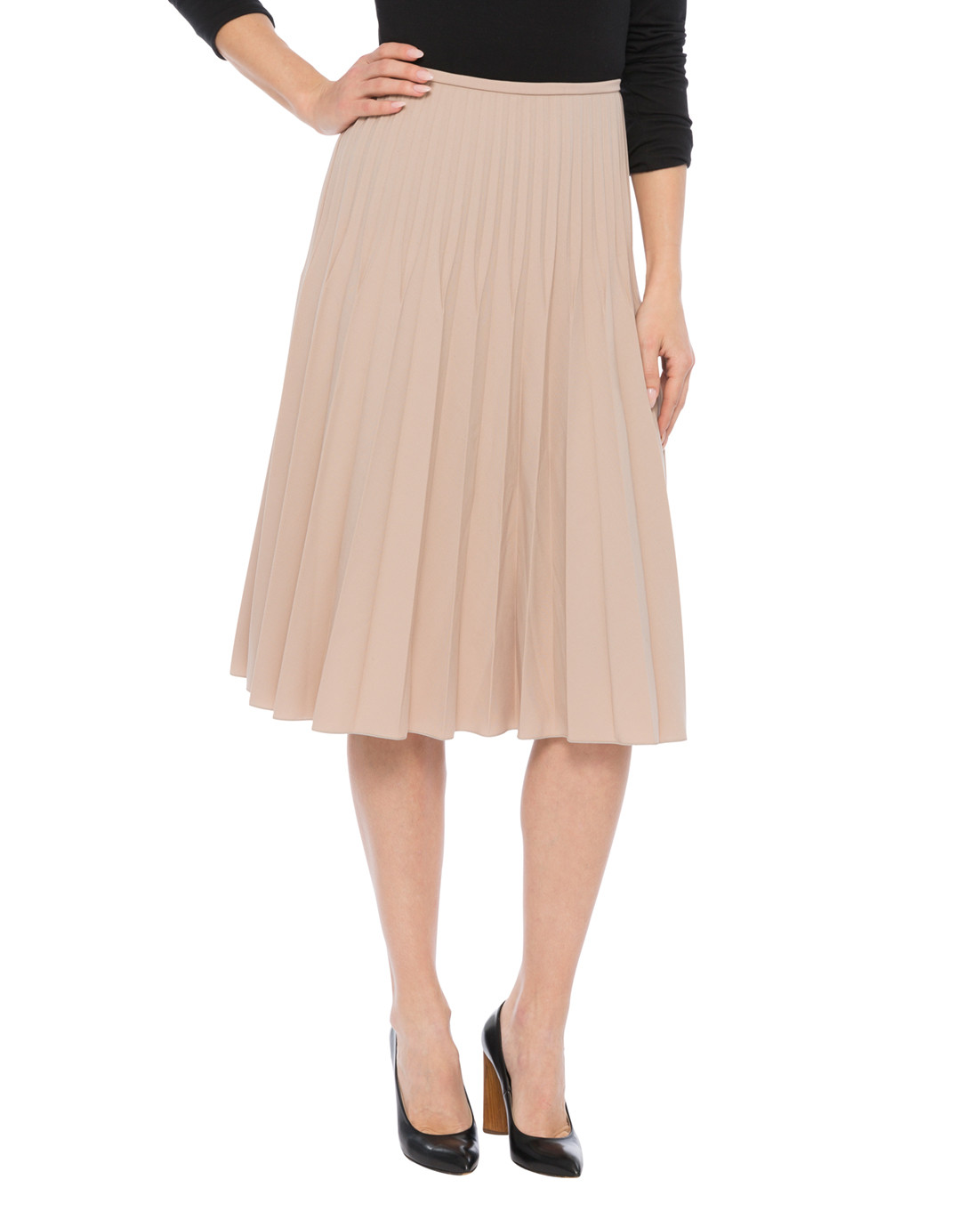 wool blend skirt with graduated pleats piazza