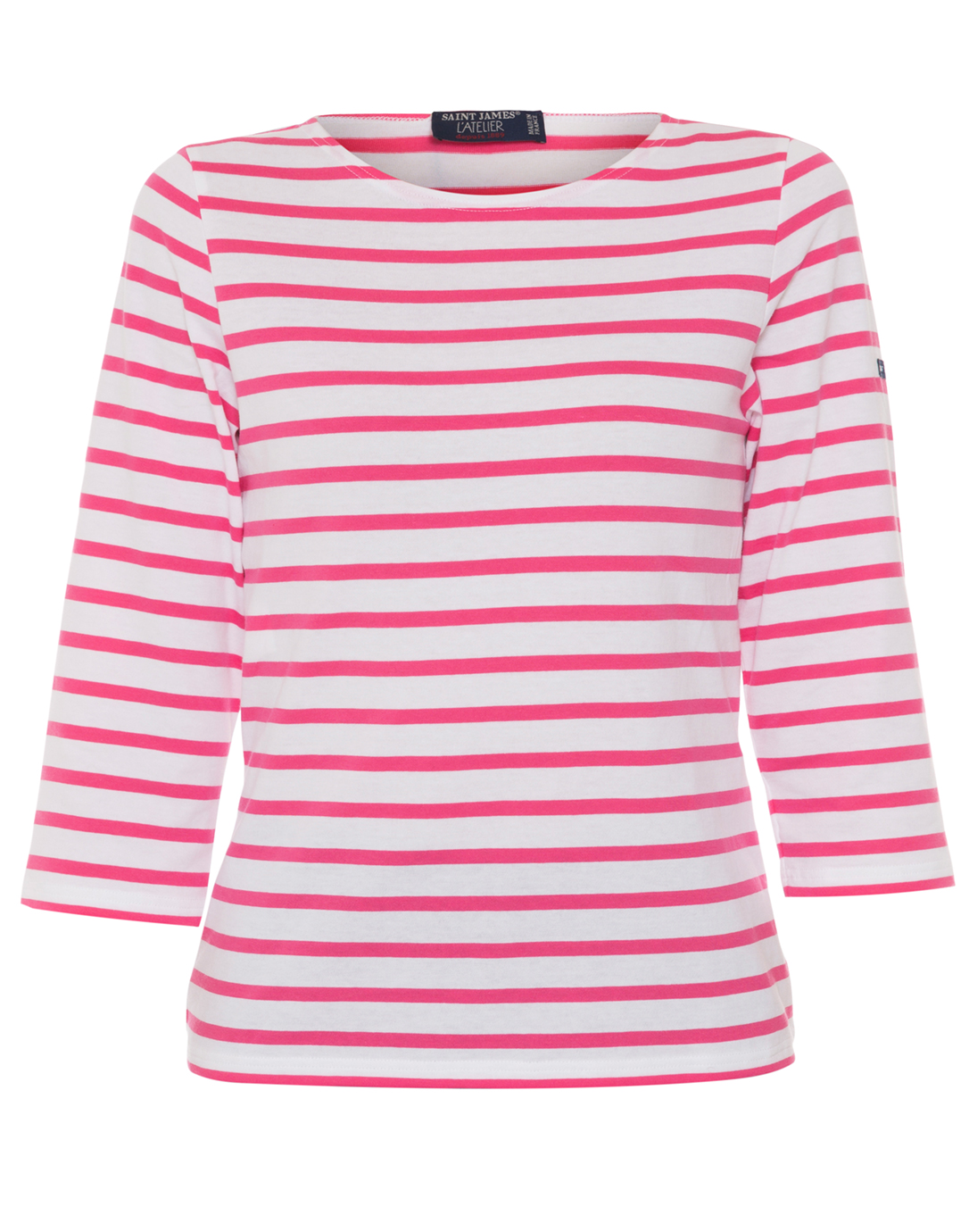 Galathee white and hot pink striped shirt saint james for Pink white striped shirt