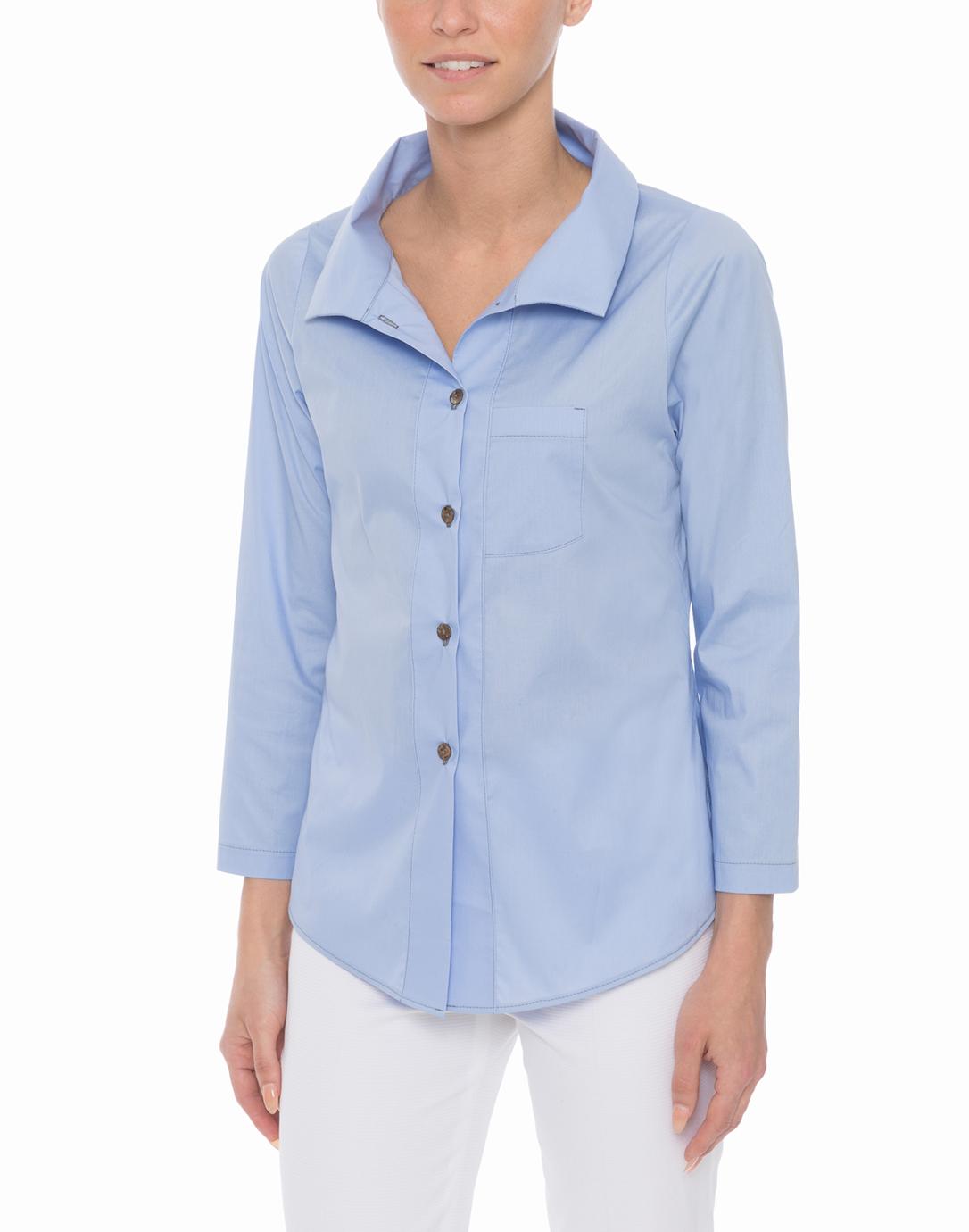French blue stretch cotton poplin shirt vitamin shirts for What is a poplin shirt