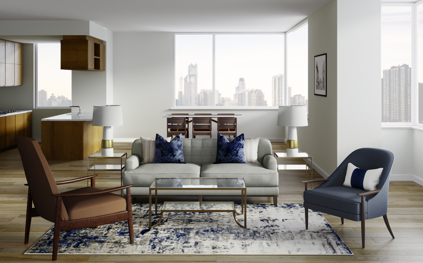 Glam, Transitional, Midcentury Modern Living Room Design by ...