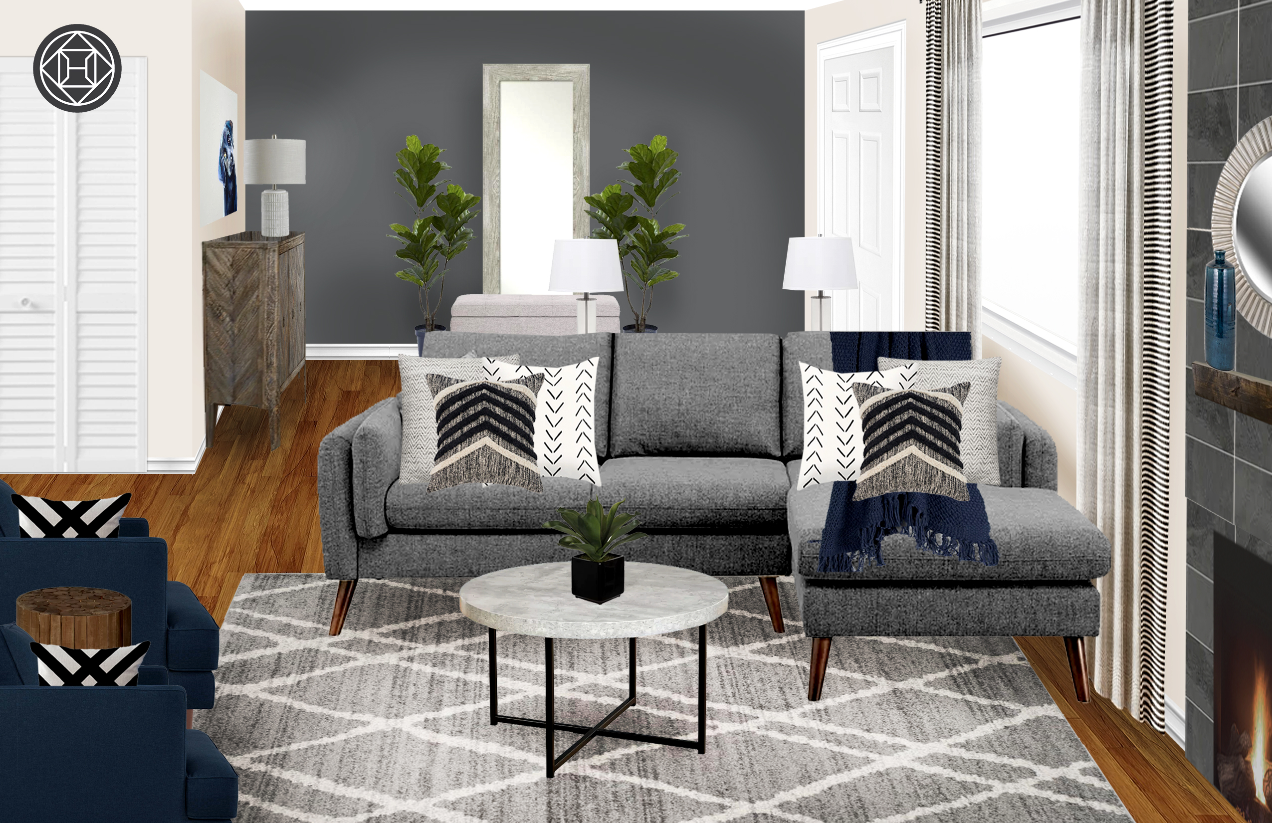 Transitional, Midcentury Modern Living Room Design by ...