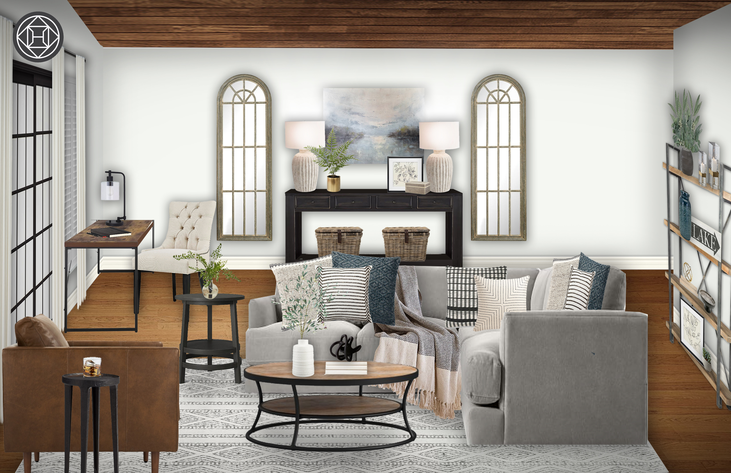 Farmhouse Rustic Transitional Midcentury Modern Living