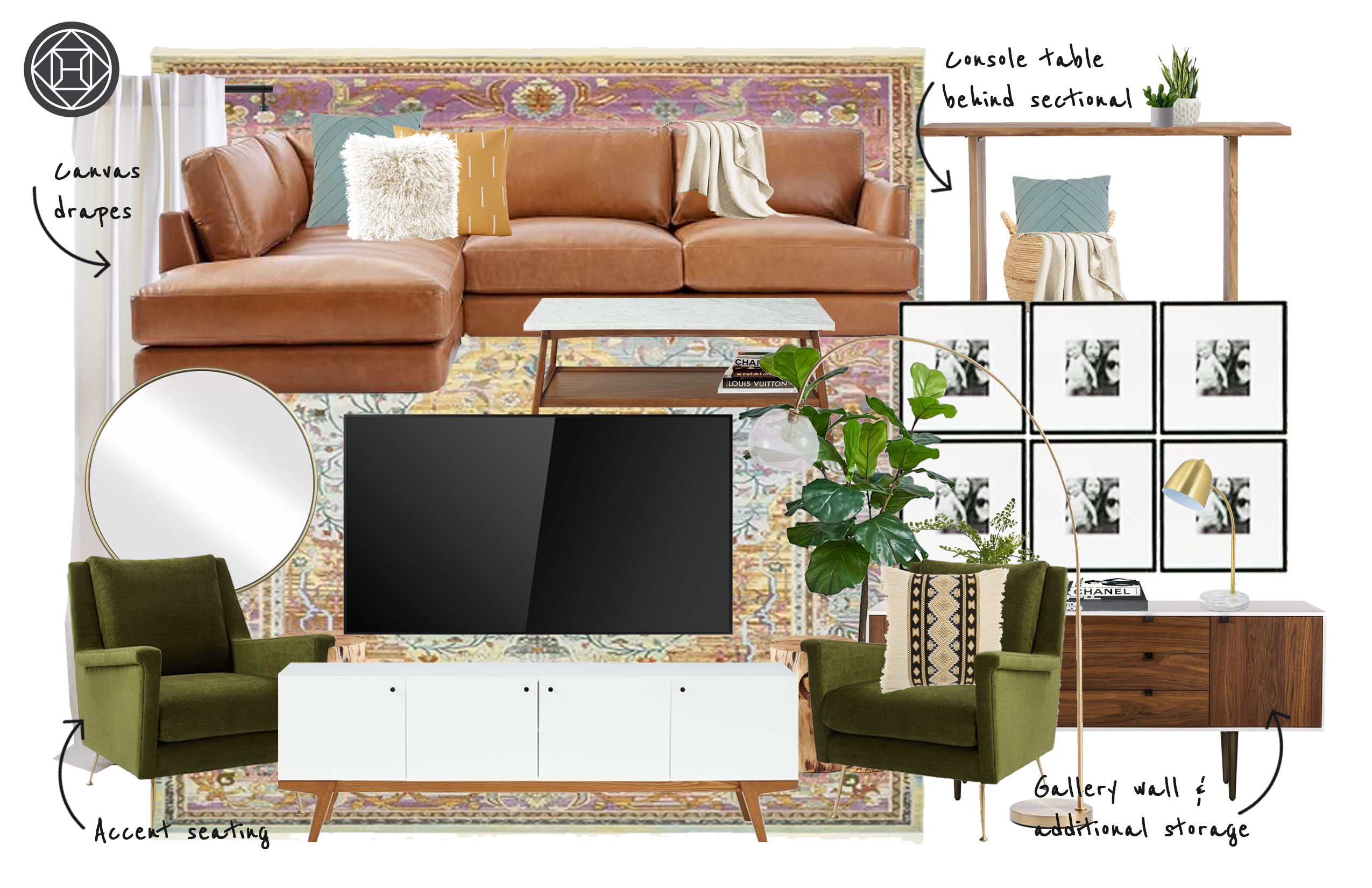 Bohemian Midcentury Modern Living Room Design By Havenly