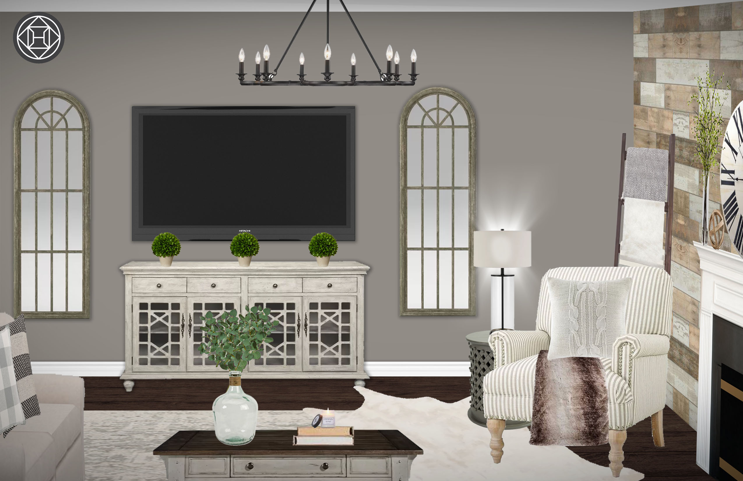 Classic Farmhouse Rustic Transitional Living Room Design
