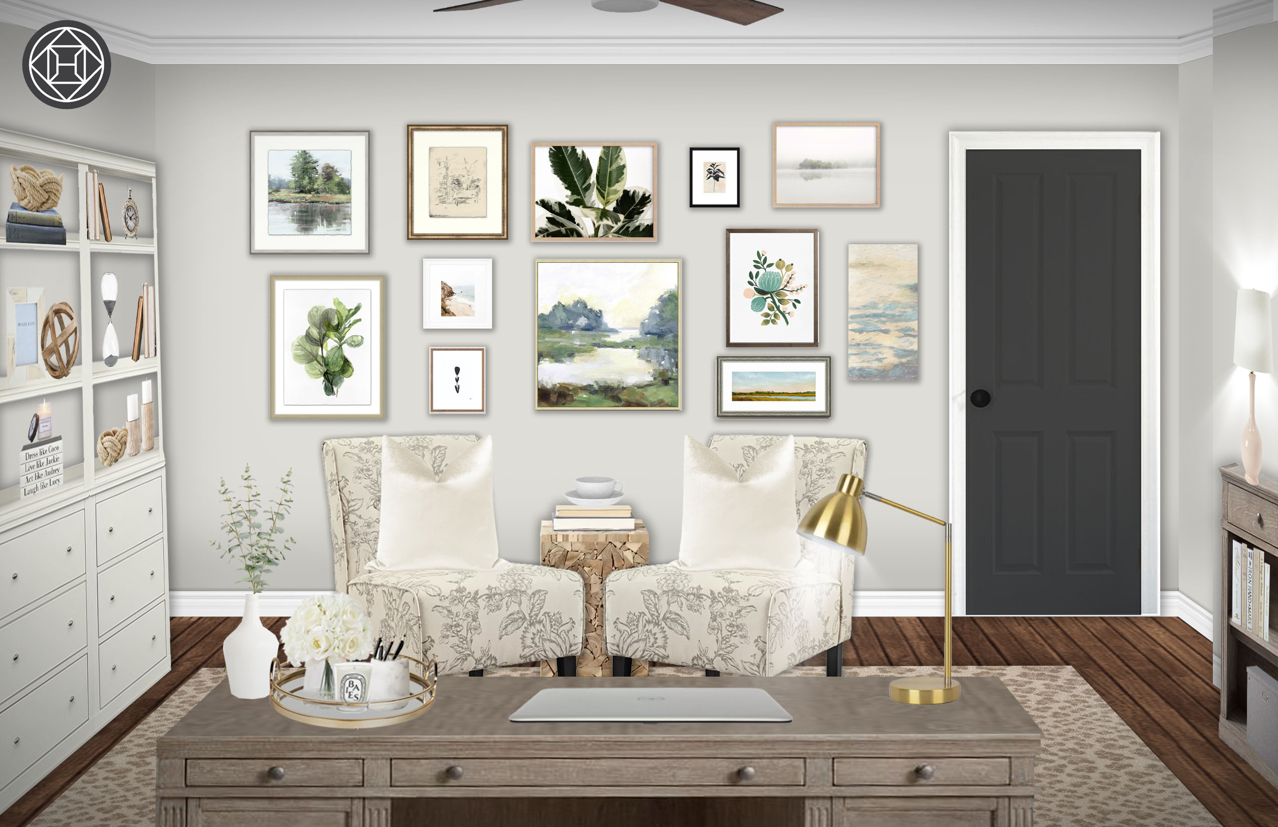 Classic Farmhouse Rustic Transitional Office Design By
