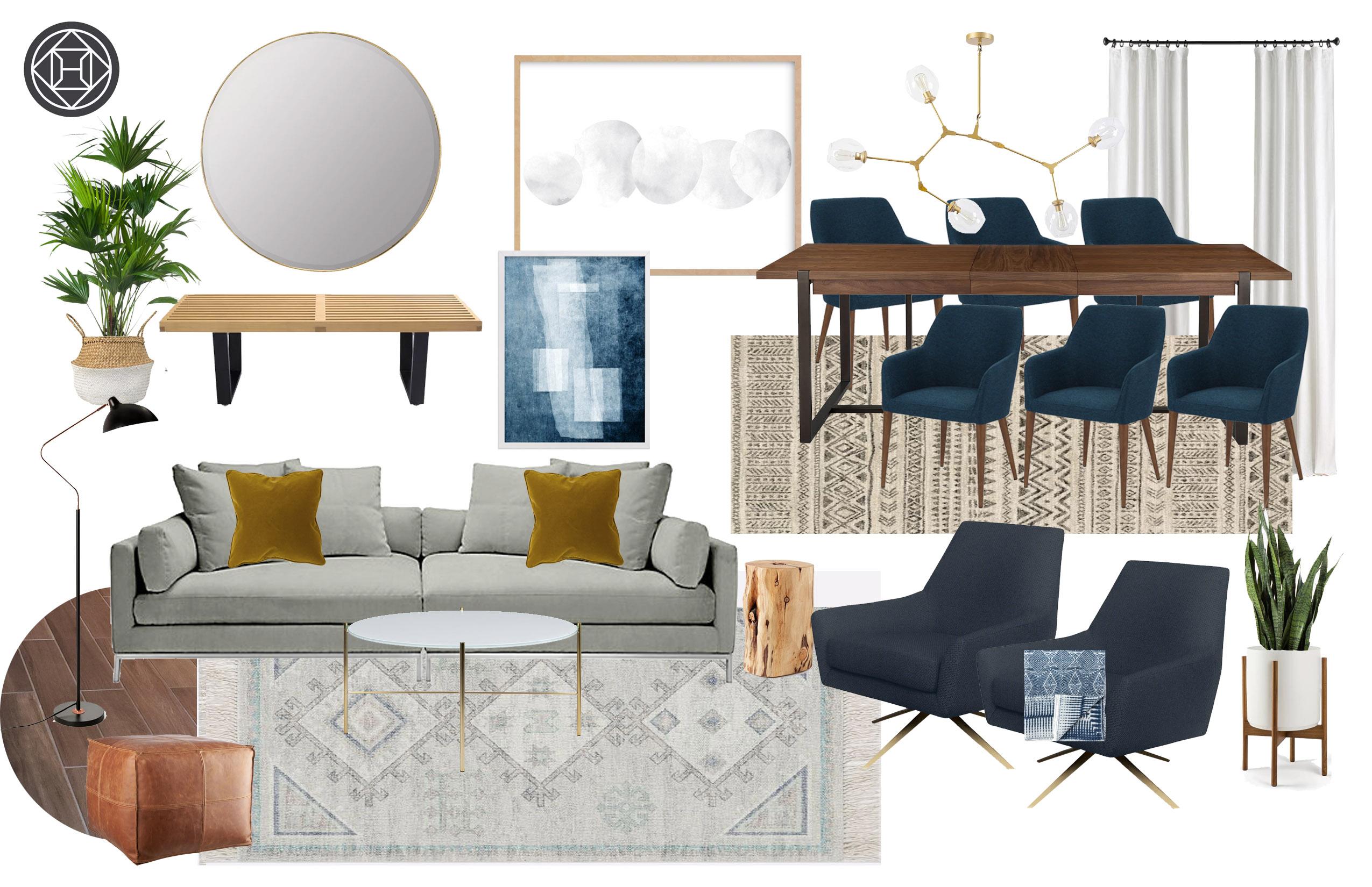 Contemporary Bohemian Living Room Design By Havenly Interior Designer Liliana