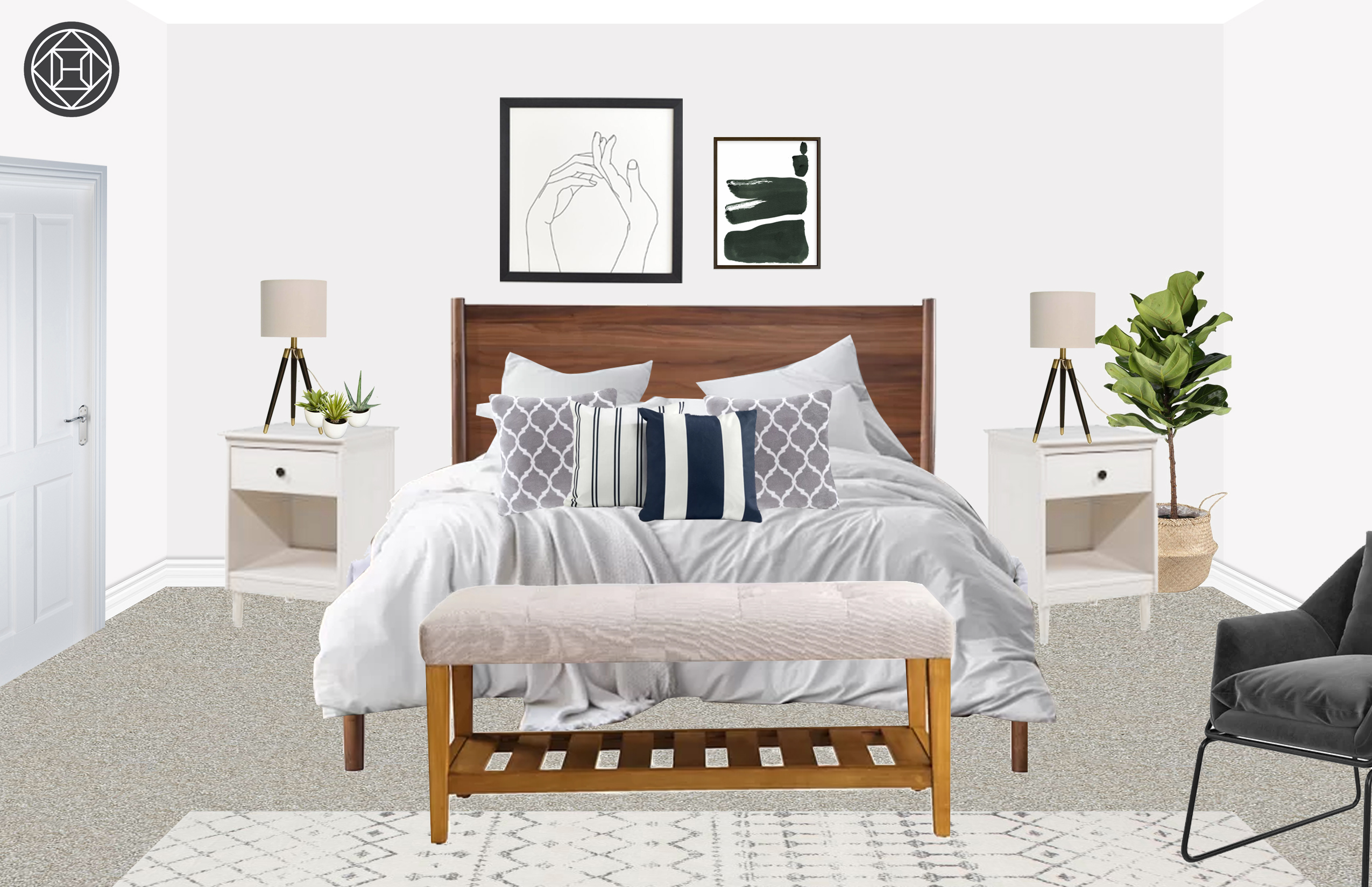 Modern, Bohemian Bedroom Design by Havenly Interior Designer ...