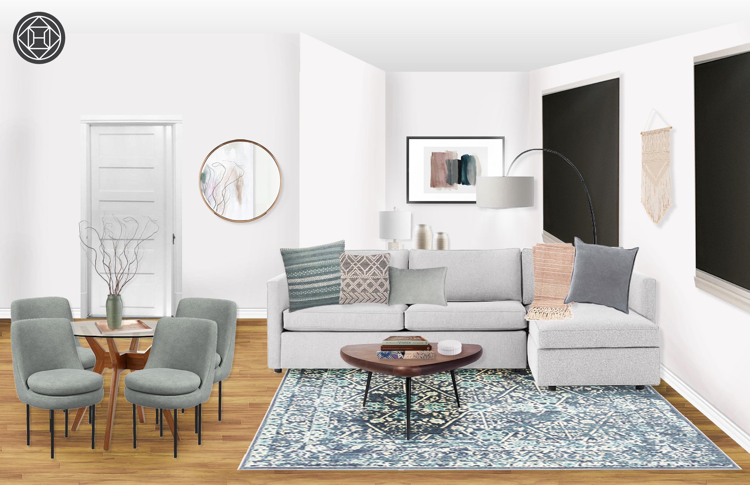 Eclectic Bohemian Industrial Minimal Living Room Design