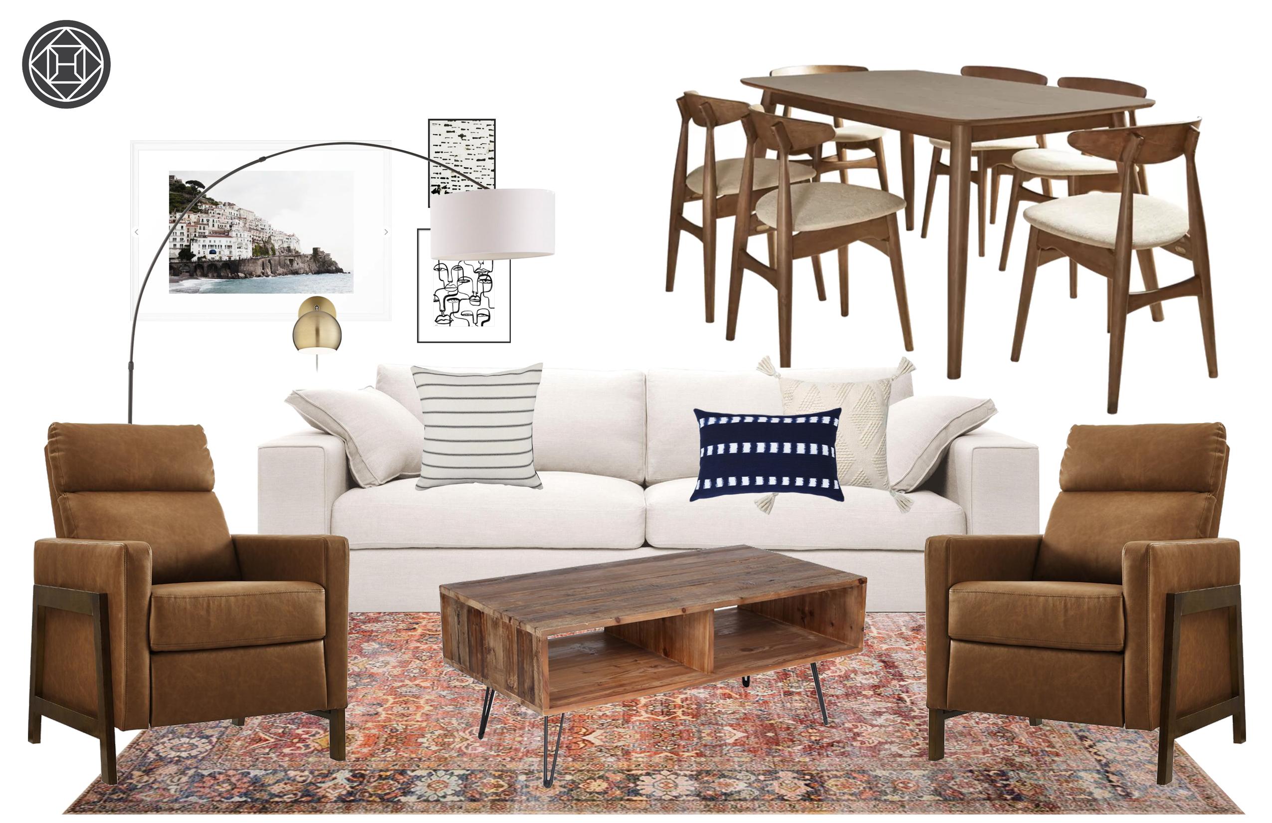 Eclectic, Bohemian, Scandinavian Living Room Design by